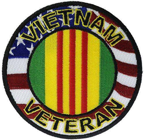 Vietnam Veteran Ribbon Inside US Flag Border 3 1/2 inch Iron or Sew on embroidered Patch PWVietnamVet
