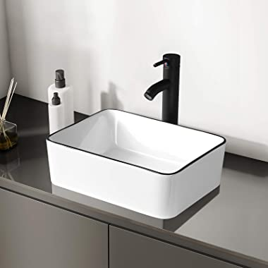 KSWIN Ceramic Rectangular Bathroom Vessel Sink, Above Counter Vanity Sink with Faucet Combo, White Body with Black Trim on Th
