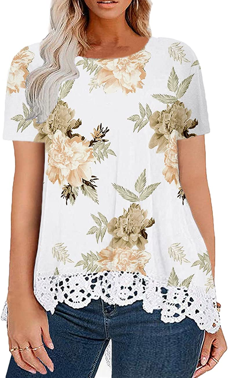 Sheslily Plus-Size Tops Women Short Tunics A-line Regular dealer Te Sleeve Lace Fresno Mall