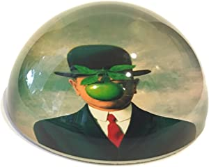 """Half Dome Glass Paperweight - Magritte Son of Man - 3"""" x 3"""" x 1 1/2 """"H"""