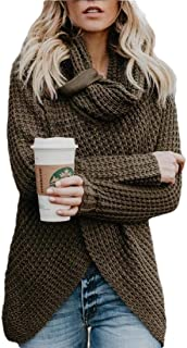 Women Chunky Button Turtle Cowl Neck Wrap Asymmetric Hem Pullover Sweater