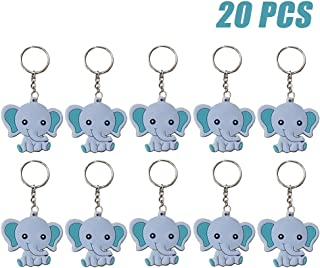 Finduat 20 Pcs Blue Baby Elephant Keychains for Elephant Theme Party Favors Pendant, Boys..