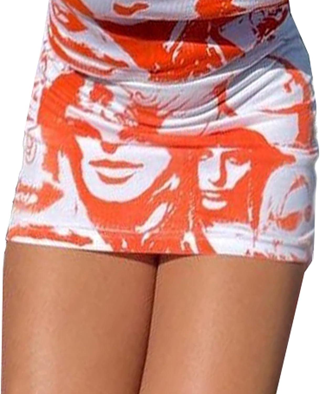 Women's Casual Portrait Printed High Waist A-Line Bodycon Short Pencil Mini Skirt 90s Gothic Y2K Clothing E-Girl Streetwear