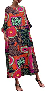 TINGZI Women Loose Cotton And Linen Long Dress Literary National Wind Print O-Neck Oversize Summer Casual Ankle-Length Dre...
