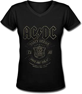 ACDC Black Dirty Deeds Fashion Women's Cool Soft V-Neck T-Shirt