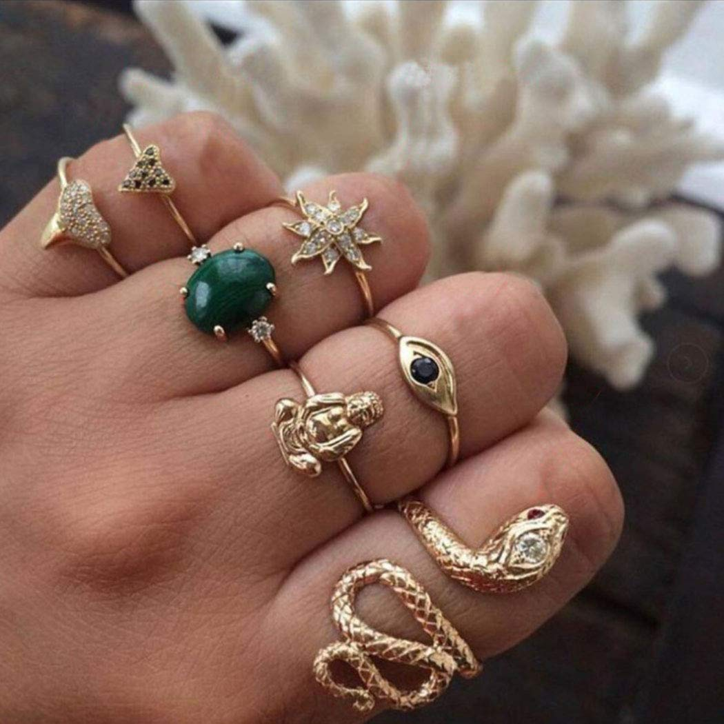 Nicute Boho Gold Ring Set Finger Rings Sets Snake Vintage Knuckle Rings for Women and Girls(7 Pieces)