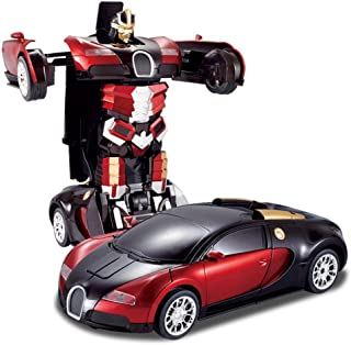 Tabu Toys World One Button Transforming Car into Robot with Cool Dance Features, Red Bugatti