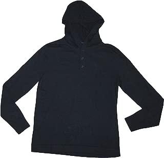 Men's Henley Hoodie L/S Sweater Shirt (Medium) Heather Blue