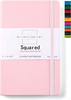 Minimalism Art, Classic Notebook Journal, A5 Size 5 X 8.3 inches, Pink, Squared Grid Page, 192 Pages, Hard Cover, Fine PU Leather, Inner Pocket, Quality Paper-100gsm, Designed in San Francisco