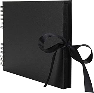 Photo Album Scrapbook, DELFINO DIY 80 Black Pages (40 Sheets) Scrap Book Memory Book Wedding Guest Book, Christmas Thanksg...