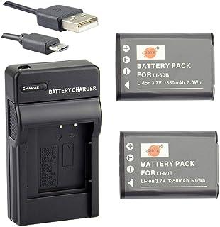 DSTE Li-60B Li-Ion Batería (2 Paquetes) Traje y Cargador Micro USB Compatible con Nikon Coolpix S550 Coolpix S560