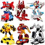 GiGimelon Set of 6 Pcs Car Robot Toys, Small Action Figures, 5' Deformation Hero Bots, Birthday Party Favors Toys, Kids Gift Idea
