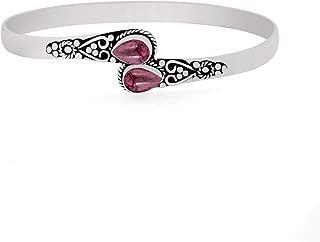 Genuine Gemstone Pear Shape Handmade Cuff Bangle Jewelry