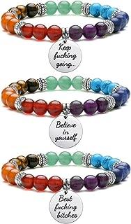 7 Chakra Bracelet Natural Gemstone Healing Crystals Stone Bracelet Inspirational Message Mala Yoga Charm Stretch Bracelets