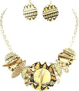 Set collana orecchini sunglory glitzs Mega K Mucheln stampa con colori delicati
