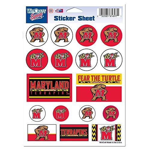 "WinCraft NCAA University of Maryland Vinyl Sticker Sheet, 5"" x 7"""