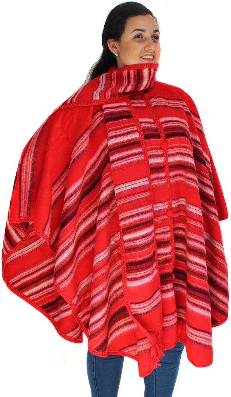 CELITAS DESIGN Alpaca Wool Poncho Cape Ruana Cloak Pinstripe with Scarf Made in Peru
