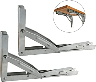 DasMarine 2pcs Polished 304 SS Wall Mounted Folding Shelf Bracket Support for Table Bench Desk Support Bracket (Mounting Screws and Board not Included) Long Release Arm, 300KG/660LBS Max Load