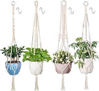 Xddias 4Pcs Colgante de Plantas Maceta Cuerda de Algodón