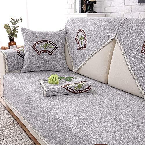 Suuki Copridivano,copridivani,Soggiorno Moderno Couch Shield,copridivano Antiscivolo in Lino di Cotone,copridivano per Divano in Pelle 2/3/4 posti,per Pet Dog Cat-Grigio_70 * 120cm (28x47)