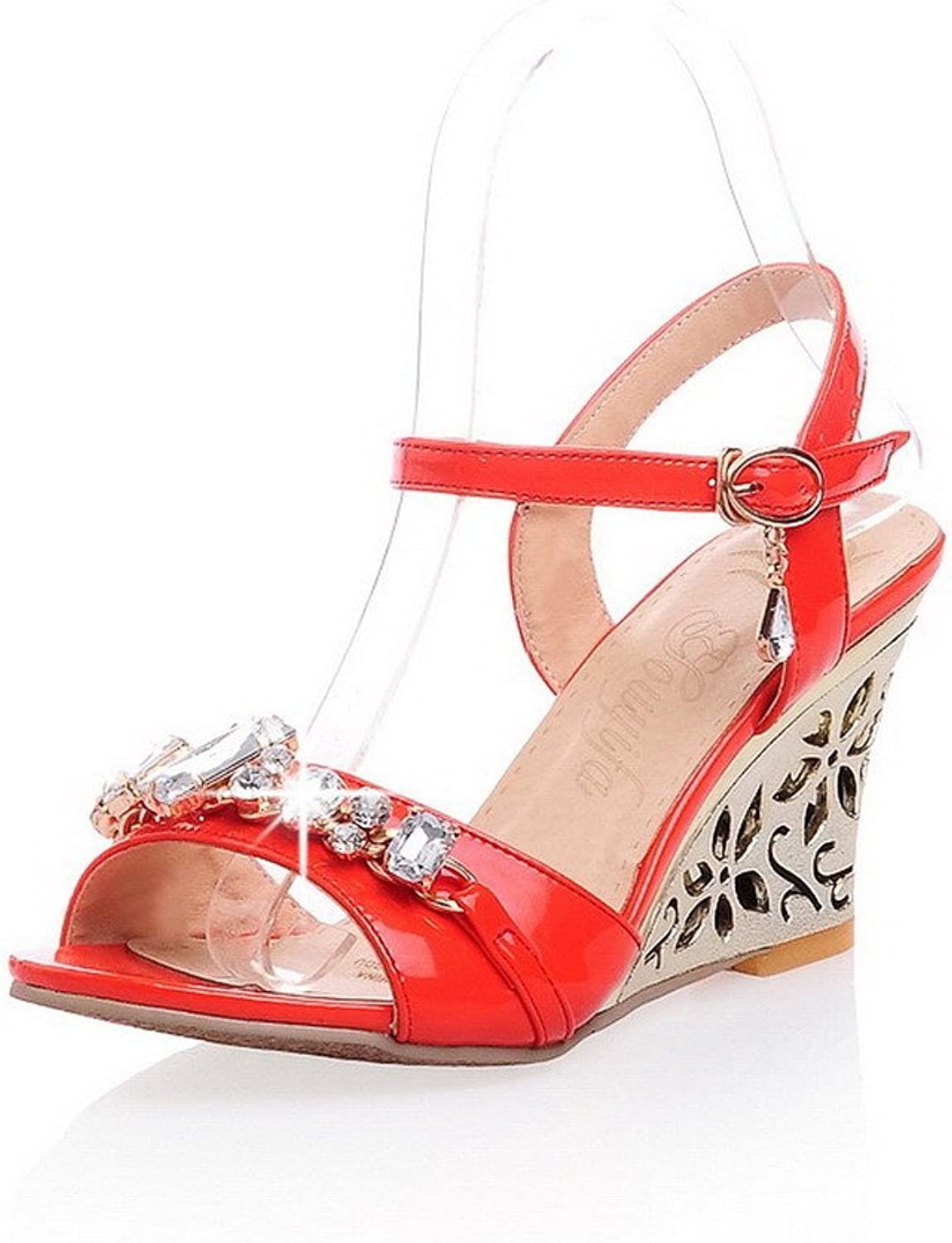 WeiPoot Girl Open Toe High Heel Wedge PU Patent Leather Solid Sandals with Rhinestones, Red, 7.5 B(M) US