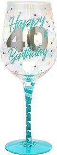 Top Shelf Decorative 40th Birthday Wine Glass, For Red or White Wine, Unique Gift Idea
