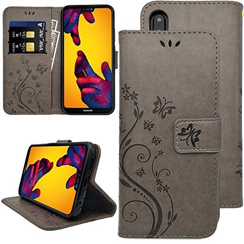 """KUAWEI Custodia Huawei P20 Lite Cover Wallet Case Custodia in Pelle con Magnetico Snap-on,Carte Slot Credito,Portafoglio,Supporto Stand, Flip Cover per Huawei P20 Lite 5.84"""" (Grigio)"""