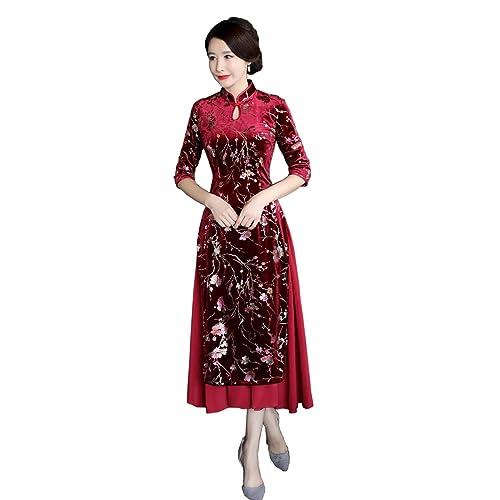 1a45575223b Shanghai Story Autumn Vietnam Ao Dai 3 4 Sleeve Velvet Aodai Style Dress  Cheongsam