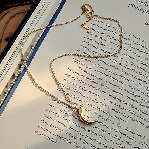 Collar De Mujer,Media Luna Dorada Simple Retro Tallado Collar De Monedas Gargantilla De Plata Colgante De Oro Encanto Minimalismo Vintage Boho Collier Collar Mujer Joyería