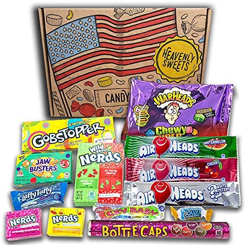 Caja de dulces veganos americanos | Golosinas y barra de caramelos de selección en caja regalo | Surtido incluye Nerds Gobstoppers | 14 artículos de caramelos Retro