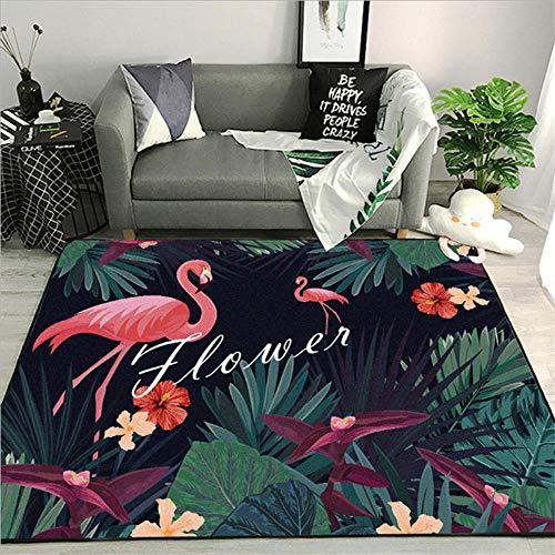 ANBAI Zomer groene plant flamingo patroon woonkamer tapijt groot gebied tapijt tapijt kinderkamer zijdezachte tapijt