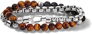 Mens Classic Wrap Bracelet, Silver, Medium, J96B023L