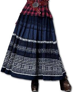 (ジズル)ZIZZLE レディース フレア 刺繍 ポリコットン マキシ丈 スカート ブルー ボヘミアン ファッション 向け