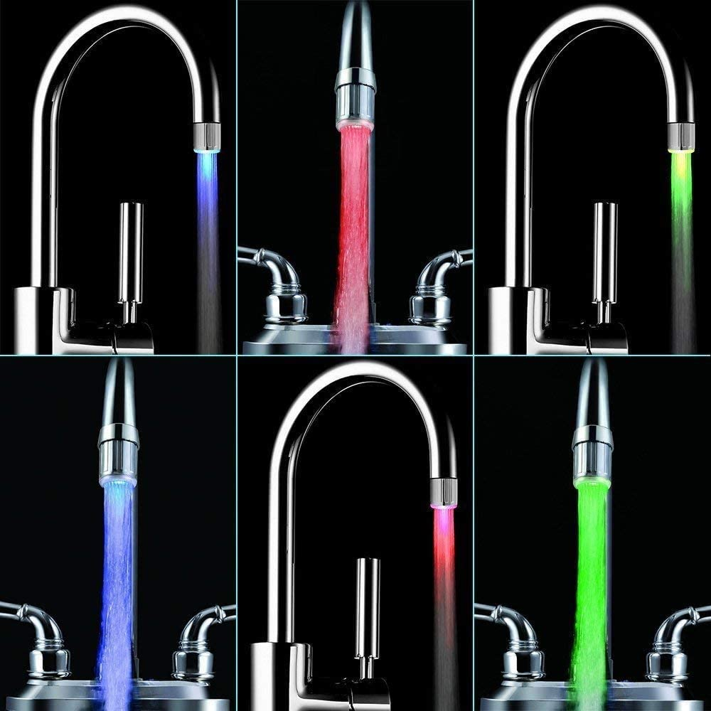 SNOMYRS 3-Color Temperature Sensitive Gradient LED Water Faucet Light Water Stream Color Changing Faucet Tap Sink Faucet for Kitchen and Bathroom 3 Color-1PC