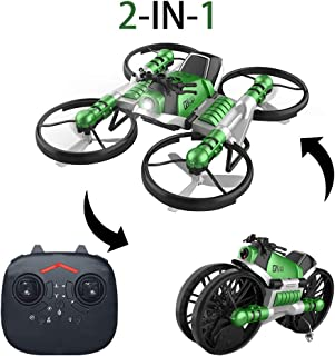 YEIBOBO 2-in-1 Transforming Motorcycle and 2.4G RC Quadcopter Drone with Altitude Hold Function (Green)