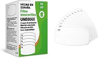 [ENVÍOS EN 24H] KALLPA® 50 filtros para mascarillas UNE0065 - REUTILIZABLES - fabricados en ESPAÑA - hidrófobo, antiestáti...