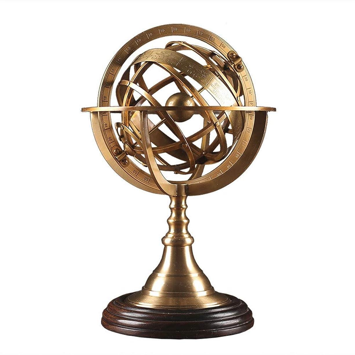 手段回転する伝統的世界の地球儀 装飾品レトロノスタルジッククリエイティブラグジュアリー純銅装飾工芸デスクトップグローブ星座地球儀の世界 知育玩具 (Color : Brass, Size : 19x29cm)