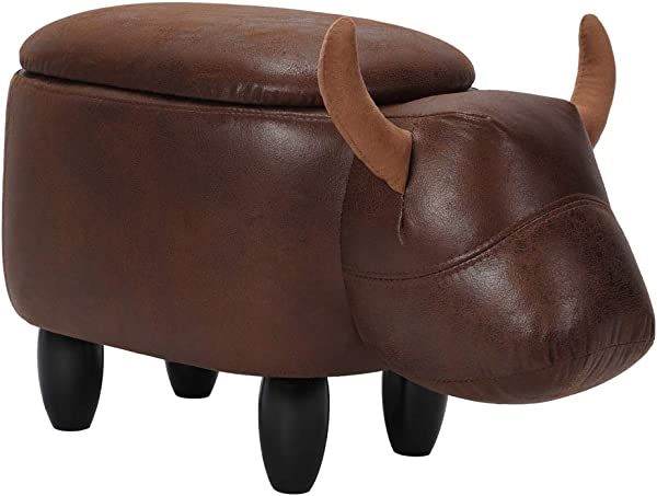 Animal Storage Ottoman Cow Shape Footrest Stool Kids Ride On Padded Seat With Solid Wood Leg For Home Living Room Bedroom Kids Room Entryway