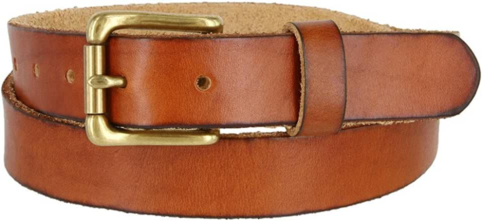 Full Grain 100% Leather Casual Dress Brass Buckle Belt for Women