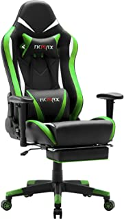 Ficmax Massage Gaming Chair Ergonomic Gamer Chair with Footrest Reclining Game Chair with Armrest High Back Leather PC Gaming Chair Plus Size Racing Office Chair with Head and Lumbar Support (Green)