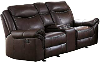 Apollo Double Glider Reclining Love Seat with Center Console in Airehyde Dark Brown Leather