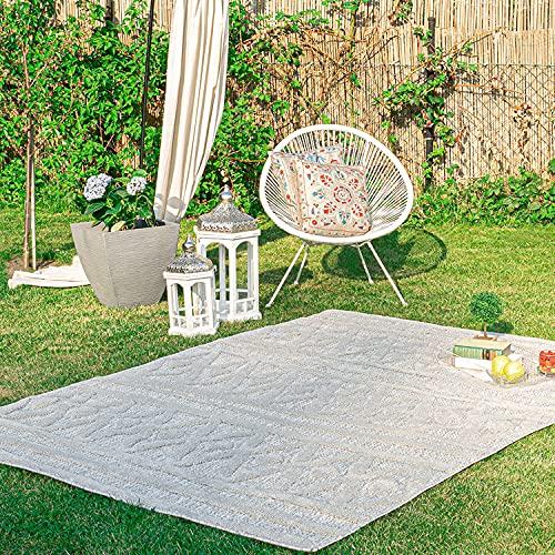 payé Teppich - In- & Outdoorteppich - Grau Ethno - 80x150cm - Teppiche für Balkon Terrasse Garten - Outdoor Wohnzimmer Esszimmer