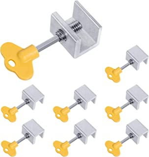 Favide 8 Pack Adjustable Sliding Window Locks Aluminum Alloy Window Security Locks with Key for Home and Office