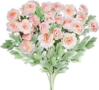 Supla 3 Pack Silk Ranunculus Artificial Flowers Ranunculus Flower Spray in Peach Pink 17.6