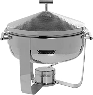 Round 6 Quart Chafing Dish, Stainless Steel with Hammered Finish - 16