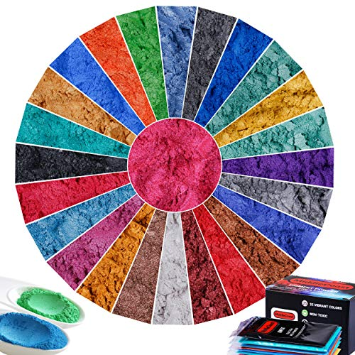 Mica Powder, MiddleCoast lip gloss Pigment Powder, 25 Colours, 250G/8.82OZ, Resin Dye, Slime Colorant, Epoxy Pigment, Bath Bomb & Soap Making, Polymer Clay, Big 10g/.353oz Portions.