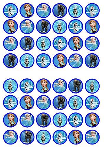 48 Frozen Princess, gefroren, Essbare PREMIUM Dicke GEZUCKERTE Vanille, Reispapier Mini Cupcake Toppers, Cake Pops, Cookies für Wafer