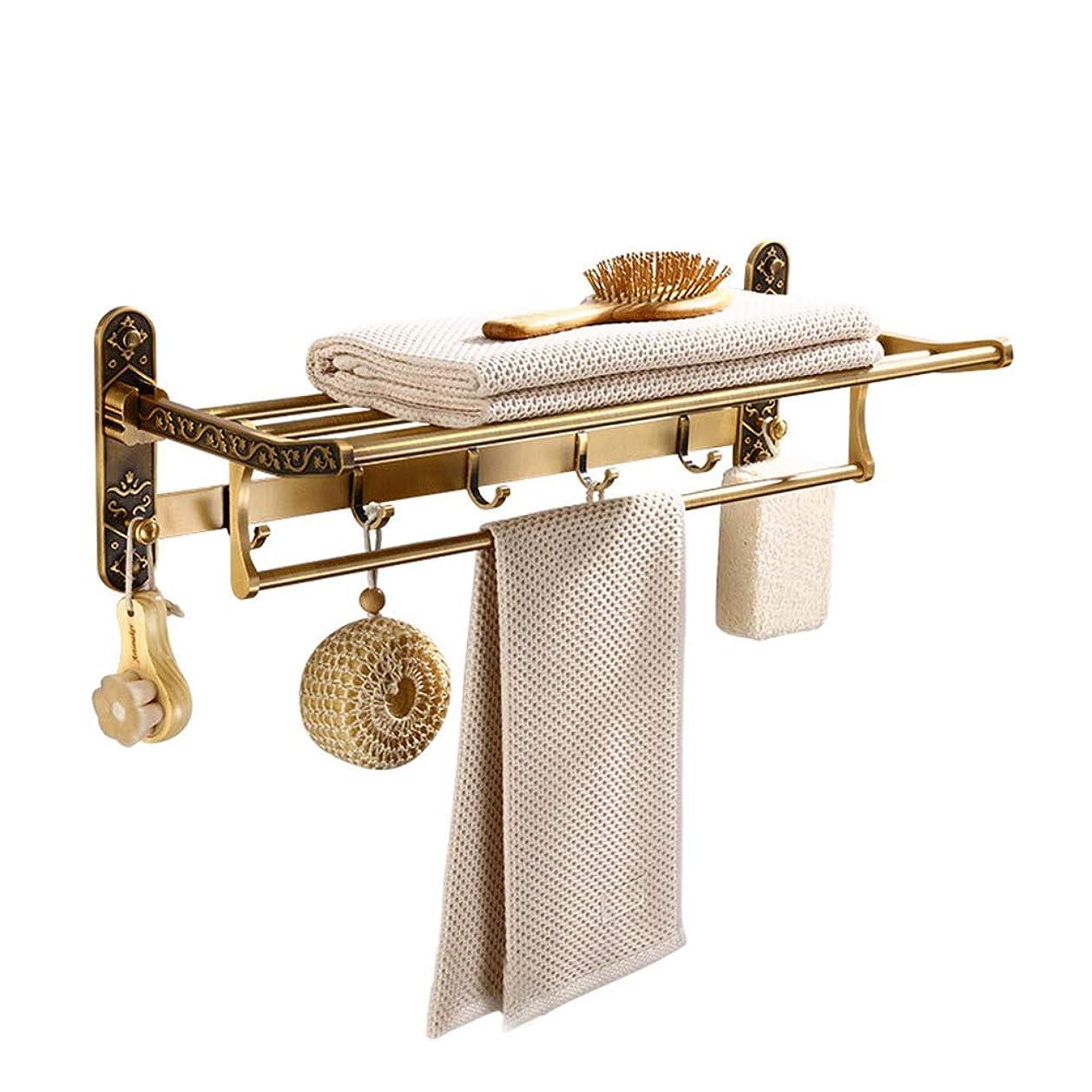 普通に飲料気がついてバスルームシェルフ, レールウォールマウント付き 浴室の棚 スペースアルミニウム 調整可能 収納ラック レトロ タオル掛け さびない 刻まれた バスルームに適しています(60×24.5×18.5cm)