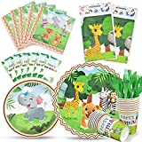 WERNNSAI Jungle Safari Theme Party Tableware Set - Zoo Animals Party Supplies for Kids Birthday Baby Shower Includes Plates Cups Napkins Table Cover Cutlery Bag Utensils Serves 16 Guests 130 PCS