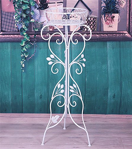 ZENGAI Pot de étagère pour fleurs À l'intérieur et à l'exterieur Intensification Monocouche métal Antirouille blanc Présentoir, Haute 90cm